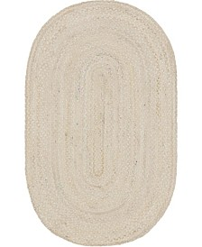 Bridgeport Home Roari Cotton Braids Rcb1 Ivory 5' x 8' Oval Area Rug