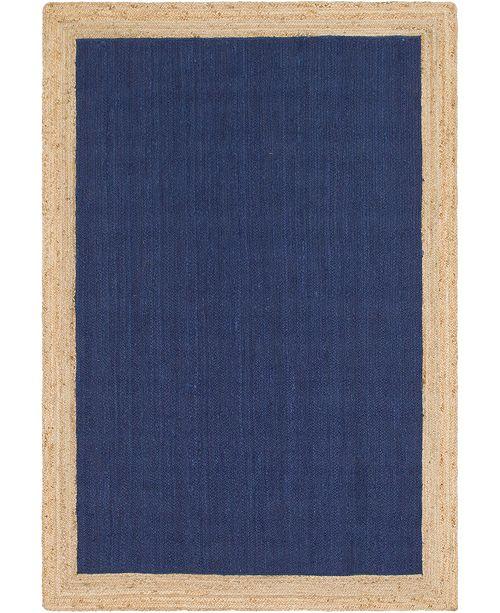 Bridgeport Home Braided Jute A Bja4 Navy Blue 6' x 9' Area Rug