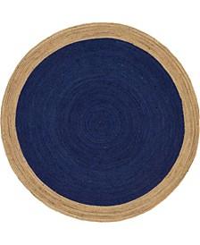 Braided Jute A Bja4 Navy Blue 8' x 8' Round Area Rug