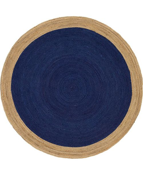 Bridgeport Home Braided Jute A Bja4 Navy Blue 8' x 8' Round Area Rug