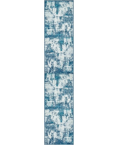 "Bridgeport Home Basha Bas6 Blue 3' 3"" x 16' 5"" Runner Area Rug"