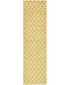 """Fazil Shag Faz4 Yellow 2' 7"""" x 10' Runner Area Rug"""