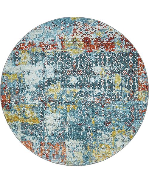 "Bridgeport Home Kenna Ken8 Teal 5' 5"" x 5' 5"" Round Area Rug"