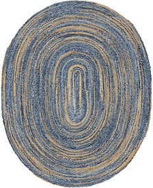 Bridgeport Home Roari Braided Chindi Rbc1 Blue/Natural 8' x 10' Oval Area Rug