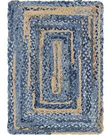 Bridgeport Home Roari Braided Chindi Rbc1 Blue/Natural 2' x 3' Area Rug