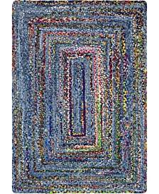 Bridgeport Home Roari Braided Chindi Rbc1 Blue/Multi 4' x 6' Area Rug