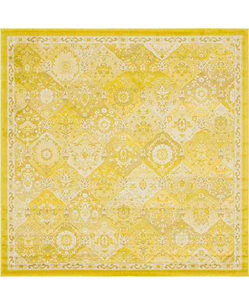 Bridgeport Home Lorem Lor2 Yellow 8' x 8' Square Area Rug