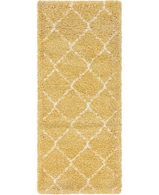 "Bridgeport Home Fazil Shag Faz5 Yellow 2' 7"" x 6' Runner Area Rug"