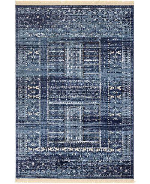 Bridgeport Home Borough Bor4 Blue 6' x 9' Area Rug