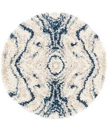 """Lochcort Shag Loc4 Blue 3' 3"""" x 3' 3"""" Round Area Rug"""
