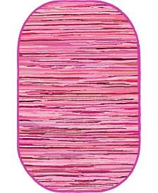 "Bridgeport Home Jari Striped Jar1 Pink 3' 3"" x 5' Oval Area Rug"