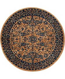 """Thule Thu5 Navy Blue 4' 5"""" x 4' 5"""" Round Area Rug"""