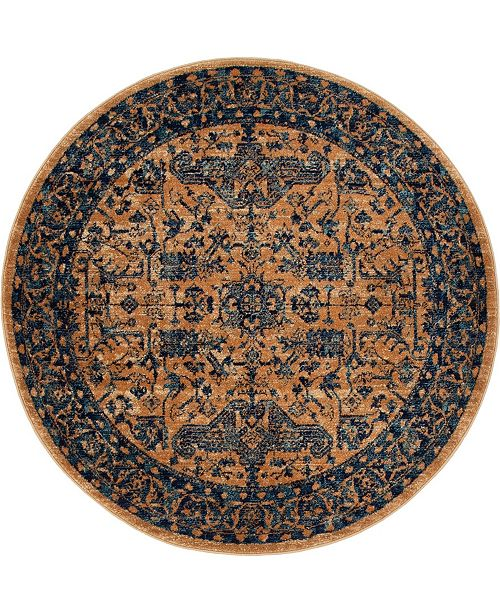"Bridgeport Home Thule Thu5 Navy Blue 4' 5"" x 4' 5"" Round Area Rug"