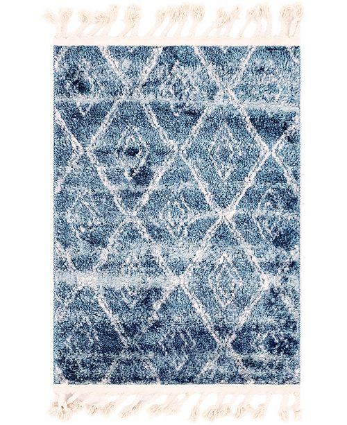 "Bridgeport Home Levia Lev2 Dark Blue 2' 4"" x 3' 3"" Area Rug"