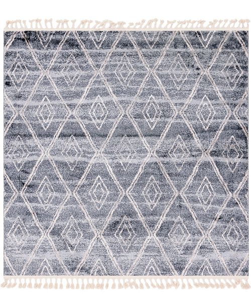 "Bridgeport Home Levia Lev2 Gray 7' 7"" x 7' 7"" Square Area Rug"