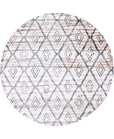 "Levia Lev2 Beige/Blue 8' 4"" x 8' 4"" Round Area Rug"