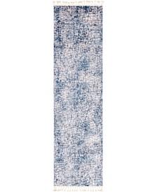 "Levia Lev3 Blue 3' 6"" x 13' Runner Area Rug"
