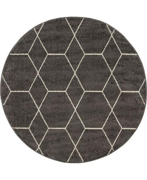 Bridgeport Home Plexity Plx1 Dark Gray 4' x 4' Round Area Rug
