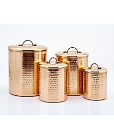 "Old Dutch International Decor Copper ""Hammered"" Canister Set, 4 Piece"