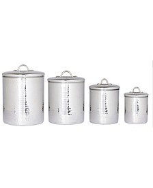 International Hammered Stainless Steel Canister Set with Fresh Seal Lids, 4 Piece