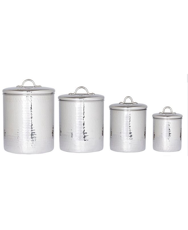 Old Dutch International Hammered Stainless Steel Canister Set with Fresh Seal Lids, 4 Piece