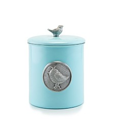 "Old Dutch International ""Lauren Bluebird"" Cookie Jar with Bird Medallion and Knob, Fresh Seal Cover"