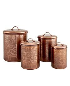 Old Dutch International Avignon Antique Copper Etched Canister Set, 4 Piece