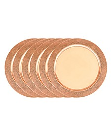 International Decor Copper Stainless Steel Etched Rim Charger Plate, Set of 6