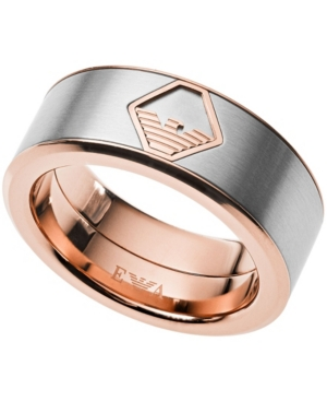69dc6d62e2 Emporio Armani Men's Two-Tone Stainless Steel Ring in Silver