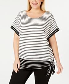 Calvin Klein Plus Size Mixed-Stripe Side-Tie Top