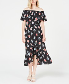 City Studios Juniors' Off-The-Shoulder Printed Maxi Dress
