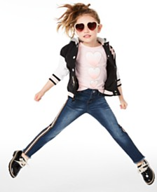 Epic Threads Toddler Girls Hooded Varsity Jacket, Hearts-Print T-Shirt & Side-Stripe Jeans, Created for Macy's