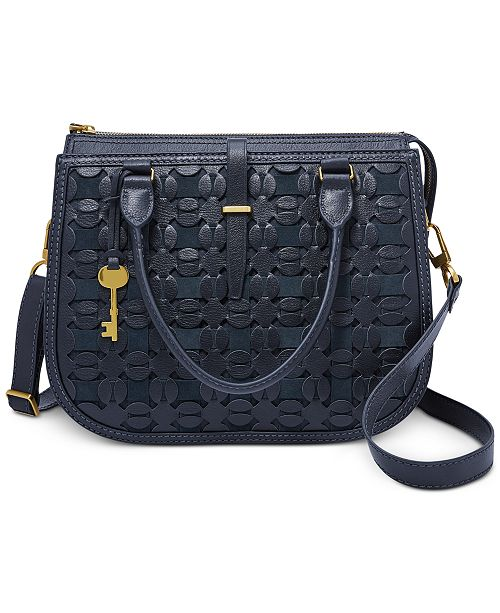 Fossil Ryder Embossed Leather Crossbody Satchel