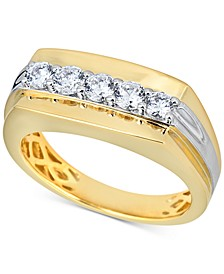 Men's Diamond Cluster Ring (3/4 ct. t.w.) in 10k Gold & 10k White Gold