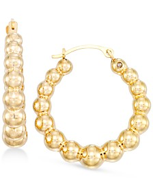 Signature Gold Diamond Accent Ball Hoop Earrings in 14k Gold Over Resin, Created for Macy's