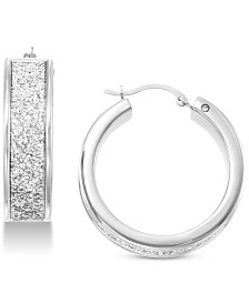 Signature Gold Diamond Accent Glitter Hoop Earrings in 14k White Gold Over Resin, Created for Macy's