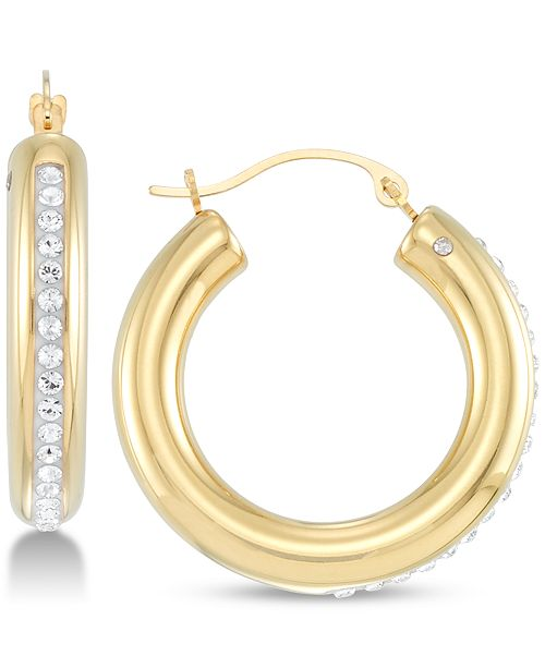 Signature Gold Crystal & Diamond Accent Hoop Earrings in 14k Gold Over Resin, Created for Macy's