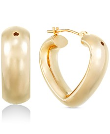Signature Gold Diamond Accent Open Heart Hoop Earrings in 14k Gold Over Resin, Created for Macy's