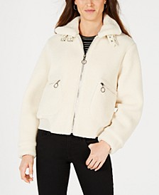 Juniors' Faux-Fur Teddy Bomber Jacket