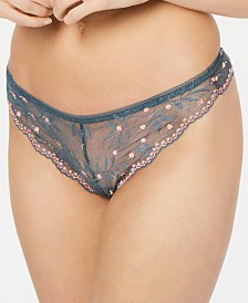 Calvin Klein Women's Embroidered Pom Pom Lace Thong QF5190
