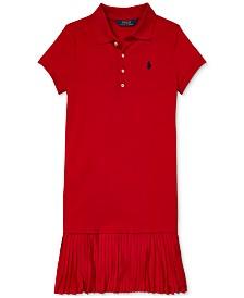 Polo Ralph Lauren Big Girls Pleated Mesh Polo Dress