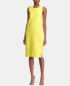 Lauren Ralph Lauren Side-Snap Sleeveless Midi Dress