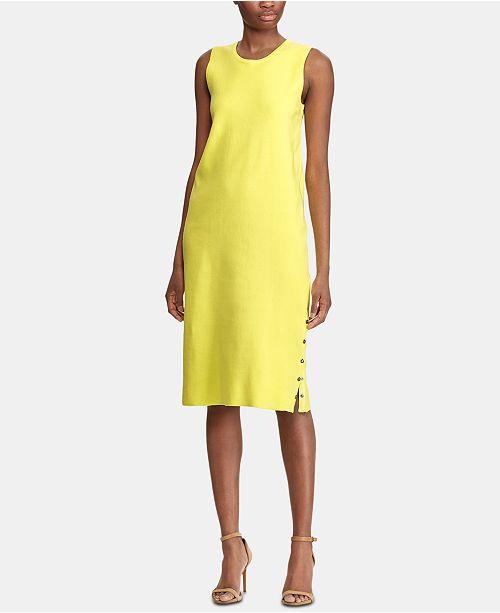 Lauren Ralph Lauren Side-Snap Sleeveless Midi Dress