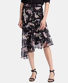 Floral-Print Asymmetrical Peasant Skirt