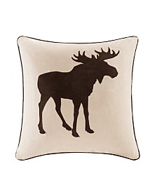 "Madison Park Moose Embroidered Suede 20"" x 20"" Square Pillow"