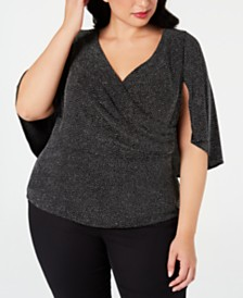 Alex Evenings Plus Size Faux-Wrap Capelet Top