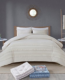 Amaya King/California King 3 Piece Cotton Seersucker Duvet Cover Set