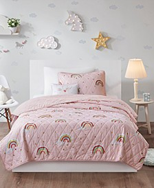 Alicia Full/Queen 4 Piece Rainbow with Metallic Printed Stars Reversible Coverlet Set