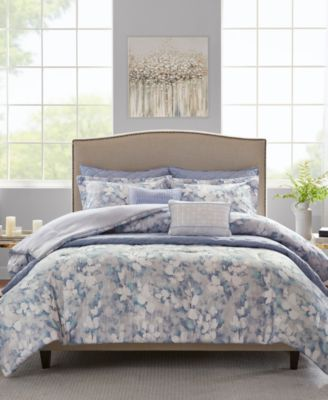 Erica Full/Queen 8 Piece Printed Seersucker Comforter and Coverlet Set