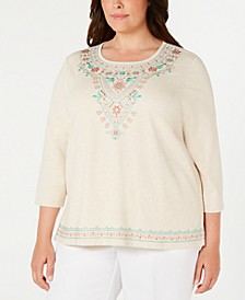 Plus Size Coastal Drive Embroidered Studded Top